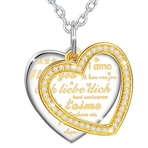 MARENJA-Weihnachtsgeschenke Fashion Halskette Damen-mit Herz Gravur Ich liebe Dich in 10 Sprachen mit Bicolor Herz Anhänger Kette-Vergoldet Schmuck mit Kristall