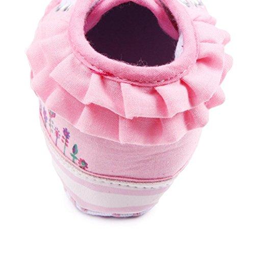 Hunpta Neue jungen Lauflernschuhe Neue süße solide Säuglings Anti-Rutsch neuen geborenes Baby Halbschuhe Freizeitschuhe (13, Weiß) Rosa
