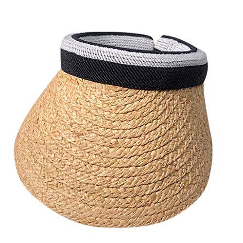 HHyyq Visoren Hüte Sonnenblende Unisex 2019 Sommer Schatten Kappe Sonnenhut Sonnenschild Visor Damen Herren Strand Outdoor Sport Golf Strohhut mit Klettverschluss