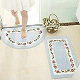 XINQING Boden - Matte eingangshalle Toilette schlafzimmertür Matte Bad Bad Toilette Badezimmer Antiskid pad Haushalt 50 x 80 cm,halbkreis: blau