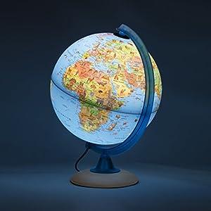 Globo Luz Infantil 25cm con Muchos Ilustraciones, Heller Pie de Madera, Meridian, Azul, Italiano – con LED Lámpara