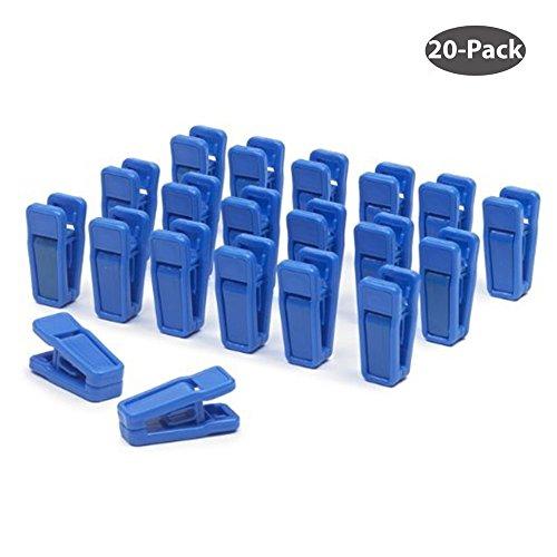 Aeeque® 20 Stück Robust Slim Blau Klammer Kunststoff Plastik Wäscheklammern Clips für Bekleidung / Hose / Kleid / Socken / Unterwäsche , Set of 20 (Quilt Aufhänger)