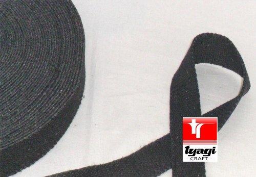 30mm de algodón puro de grosor cinta de grosor correa de cincha tienda Upholestry bolsas resistente algodón correas arnés Craft Nevy azul Tyagi Craft, Rough Black, 10 Metros