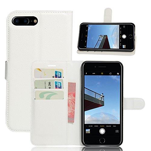 Apple iPhone 7 Plus Coque, [Accessories Expert] Flip Housse Etui à Rabat En Cuir Portefeuille Protection Card Slot Fermeture magnétique Support Etui Housse pour Apple iPhone 7 Plus,Rouge Blanc