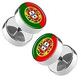 Piersando Ohrringe Fake Ohr Plug Flesh Tunnel Piercing Ohrstecker Stecker Stab Runde Platte Fussball EM & WM Länderflagge Fanartikel Land Flagge Portugal