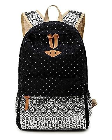 Leinwand Rucksack für Damen Mädchen Schultasche Lässig Tagesrucksack Satchel -