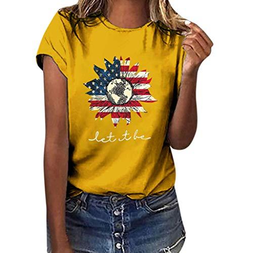 Alpha Kostüm 152 - SHE.White Tag Der Unabhängigkeit Kurzarm Tops Damen Flagge Sonnenblume Drucken T-Shirt Sommer Casual Loose Blusen Strand Urlaub Lose Tunika