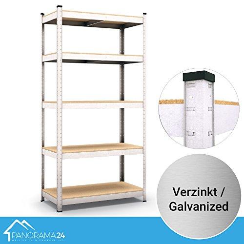 Panorama24 Lagerregal verzinkt belastbar bis 875kg - Maße: 180 x 90 x 40 cm, Regal Kellerregal Steckregal Werkstattregal Schwerlastregal