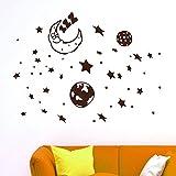 IDEAVINILO - vinilo decorativo infantil: Luna durmiendo rodeada de estrellas y planetas. Medidas: 115 x 50 cm