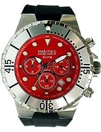 Nautec No Limit Herren-Armbanduhr Mainland Analog Quarz Kautschuk MALD-QZ-GMT-RBSTST-RD