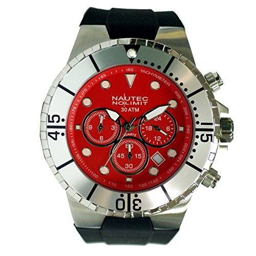 Nautec No Limit men's Quartz Watch Analogue Display and Rubber Strap MALD-QZ-GMT-RBSTST-RD