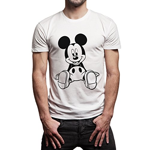 Mickey Mouse Disney Dope Icon Swag Colour Sitting On Ground Layer 1 Herren T-Shirt Weiß