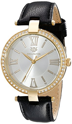 Wellington Ladies Quartz Watch with Silver Dial Analogue Display and Black Leather Strap WN502-212