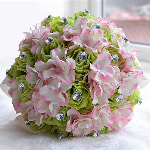 Style européen tissu tenant des fleurs de mariage cadeau fait à la main chaque de satin rose et bouquet pour le mariage grand (Color : Green rose pink hydrangea)