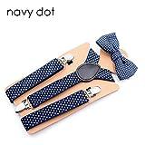 LLZGPZBD Hosenträger/Fliege Hosenträger für Jungen Vintage Marine Dot Strap Hosenträger Boy 3 Clip Knopfleiste Bretelle Enfant Garcon YiA048, Marineblau