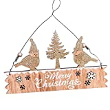 Qiusa Weihnachtsschmuck, hängende hölzerne Anhänger + Elch Holz Platte Ornament + Hohl Tür Ornamente Dekor + DIY Handwerk Geschenke