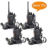 zhiqli BF-888S Walkie Talkies long range Two Way Radio Handheld UHF 400-470MHz Transceiver Interphone With Rechargeable Li-ion Battery and LED Light Voice Prompt for Field Survival Biking and Hiking
