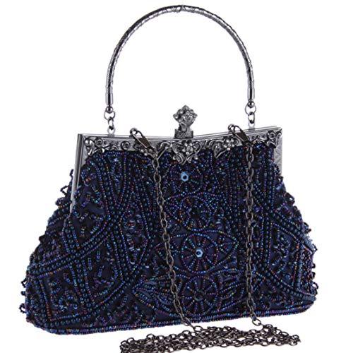 Coucoland Perlen Clutch Damen 1920s Handtasche Abend Party Geldbeutel Elegante Abschlussball Handtaschen Hochzeit Braut Zubehör (Blau) -