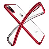 Humixx Cover iPhone X,Custodia iPhone X, Crystal Clear Morbido TPU Silicone Cover Placcatura Bumper Case Ultra Sottile Anti-graffio Shock-Absorption per Apple iPhone X [Supporta la Ricarica Wireless] (iPhone X, rosso)