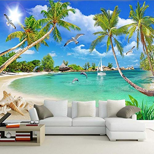 TONGSS Personalizzato 3 D Foto Wallpaper Murales 3D Wallpaper Beach Tree Waves Prato Percorso Gabbiani per Soggiorno 3D Carta da Parati Home Decor