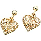 Caged Heart Stud Earrings in 9 Carat Yellow Gold