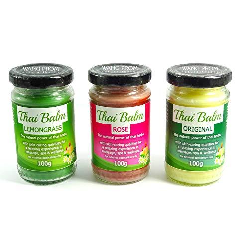 Wang Prom - Natural Herbs - Thai Kräuter Massage Balm SET: 100g Original Thai Herbs, 100g Zitronengras, 100g Rose