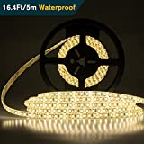 Led Strip Lights Waterproof Strip Led IP65 DC12V 60W Led Light Strips SMD2835 600Leds Led Tape Lights 16.4Ft (5Meters) Led Rope Light Warm White Flexible Strip Light