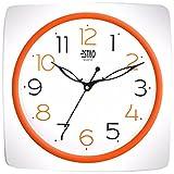 Estilo Plastic Analog Wall Clock (26 cm x 26 cm x 5 cm, White, ES9747ORANGE)