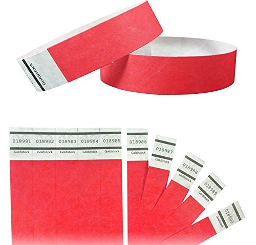 Goldistock - 3/10,2 cm Tyvek Wristbands 500 count - Event identificazione fasce #10-500 Ct. #18- Bright Red