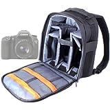 Sac à dos résistant à l'eau pour appareil photo Canon 7D Mark II et EOS 1200D, 700D, SX400 IS, 100D, 750D et 6D - nylon noir + poignée et bretelles, Par DURAGADGET