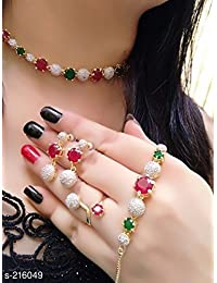 M Creation American Diamond Stylish Latest Design RedGreen-Color Combo of Necklace Set with Earring, Ring and Bracelet
