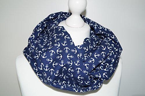 Stillschal, Loop, Schal Loopschal weiße Amker auf dunkelblau