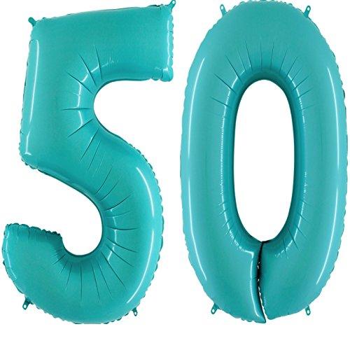 Trendario Folienballon Zahl 50 - XXL Riesenzahl 100cm Ballon - Helium Luftballons für Geburtstag, Partydeko, Hochzeit (Pastell Blau)