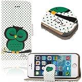 tinxi® Kunstleder Tasche für Apple iPhone SE 5S 5 Tasche Schutz Hülle Schale Etui Case Cover Standfunktion mit Karten Slot Eule Owl Muster