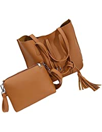 LHWY 2017 femmes cuir glands sac à main sac à bandoulière Messenger Shoulder Bag + sac Crossbody (marron)