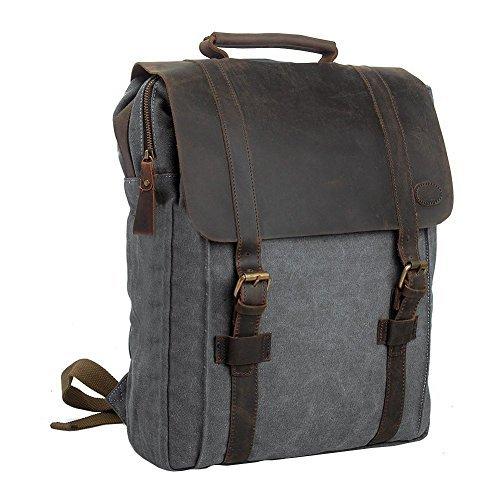 Canvas Rucksack, P.KU.VDSL 15″ Laptoprucksack Vintage Canvas und Leder Schultasche Reisetasche Daypacks Uni Backpack für Outdoor Sports Freizeit (Grau, Laptoprucksack) - 2