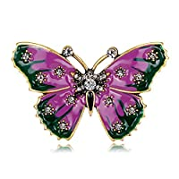 Qinlee Woman Brooches Butterfly Rhinestone Colorful Brooches Pins Vintage Brooches Decoration Covered Scarves Shawl Clip for Women