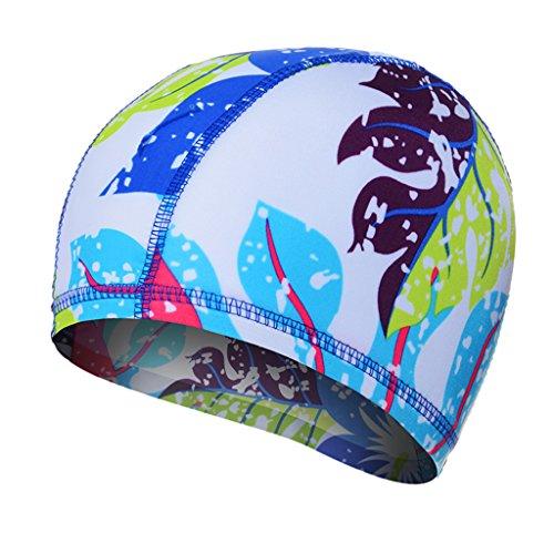 ZHOU LI Hippie Rock Stil Badekappe Wasserdicht Unisex Atmungsaktive Sport Schwimmen Hut Wasserdichte Haarpflege Gehörschutz Badekappe Für Baden Schwimmen Tauchen Schnorcheln (Farbe : Leaf Spots)