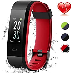 Lintelek Montre Connecté Cardiofréquencemètre, Tracker d'Activité avec Moniteur de Sommeil, Réveil, Notifications, Bluetooth Podomètre IP68 Etanche Montre GPS Connectée pour Femme Homme