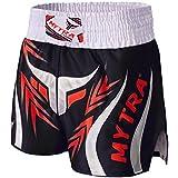 Mytra Fusion Farabi Pro Short de Boxe pour Muay Thai entraînement Perforation, d'entraînement Fitness Gym Vêtements jiu-Jitsu Fairtex MMA Muay Thai Kickboxing équipement Homme (Noir, XL)