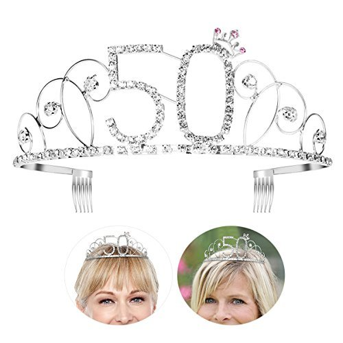 Frcolor – Tiara zum 50. Geburtstag, Krone, Kristall-Strass-Diadem mit Haarkamm (Silber)