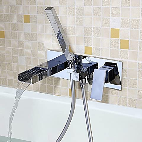 JinYuZe Amazing Waterfall Square Wall Mounted Bath Tap with Handheld Shower Solid Brass Chrome