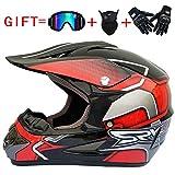 YWLG Off-Road Motorrad Racing Helm Vollgesichts Erwachsene Unisex Motorrad Helm Atmungsaktiv Mit Brille Maske Handschuh,D-M54-55cm