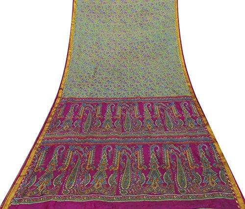 Vintage Art Silk Saree Kleider- Grün mit Blumenmustern in Sari-Gewebe-Fertigkeit Gebraucht Art Silk Sari Saree