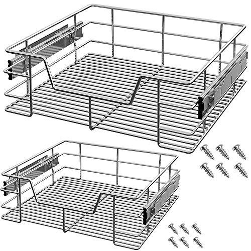 2x Deuba Teleskopschublade 60cm Küchenschublade Korbauszug Schrankauszug Schlafzimmerschublade Werkstattschublade Schrankbreite