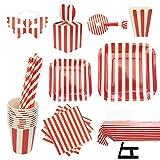 cotigo Set de Vajilla Desechables para Fiesta de Cumpleaños,Platos,Vasos,Gafas,Servilletas, Mantel, Caja de palomita,Pajitas,Diseño Rayas,Color Rosa,para 16 Personas (Rojo)
