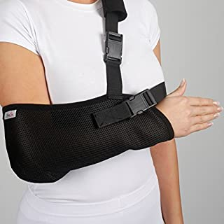 ArmoLine Arm Sling Breathable Mesh Fabric for Adult Black Broken Arm Bandage for broken wrist shoulder immobilizer (S)
