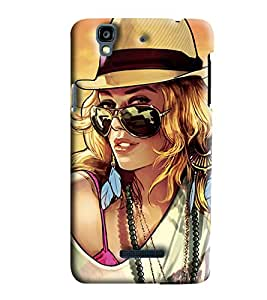 Clarks Girl With Sun Glass Hard Plastic Printed Back Cover/Case For Micromax Yu Yureka