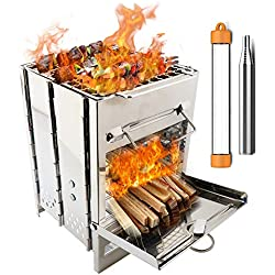 PSKOOK Wood Burning Backpacking Stoves-Stainless Steel Folding Outdoor Camping Hiking BBQ Cooker Stove-Lightweight, Portable, Sturdy