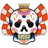 "Sunny Buick - Racing Sweats Sugar Skull autocollant Sticker - 4 1/2"" w x 4""h - Weather Resistant, Long Lasting for Any Surface"